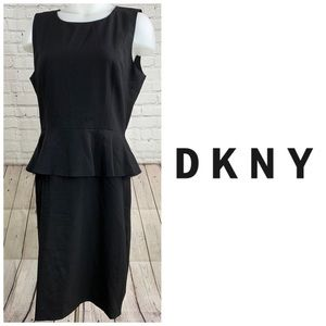 DKNY Black Sleeveless Peplum Dress